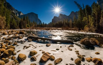 ручей,Вода,california,yosemite national park,лучи,скалы