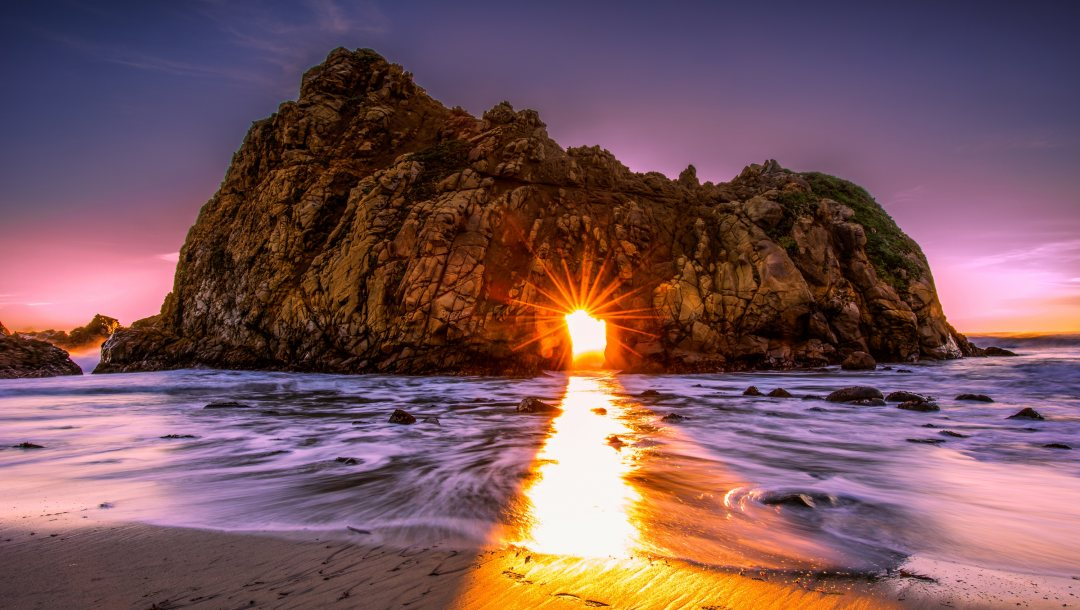 лучи солнца,Big sur,сша,калифорния,скалы,Pfeiffer beach,арка