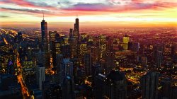 Sunset,sky,Red,city,clouds,chicago,homes,skyline,architecture,street