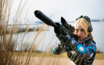 weapon,nova,by zadra,cosplay,Starcraft ii,starcraft,gun,game,armor,Starcraft 2,sniper,blonde,pretty