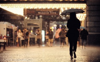 street,Cityscape,raining,sidewalk,urban scene,United states,chicago,girl,people,back,umbrella