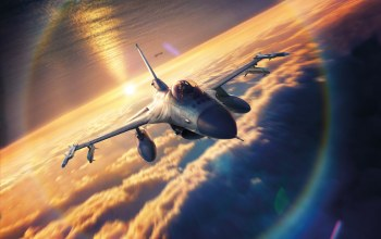 drawing,sky,Sunset,Lockheed F-16