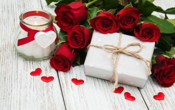 Red,gift,Valentine`s day,heart,roses,красные розы