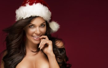 brunette,Christmas cap,christmas,New Year