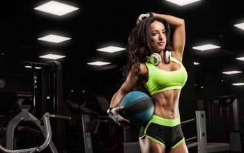 female,pose,gym,music headphones,Ball
