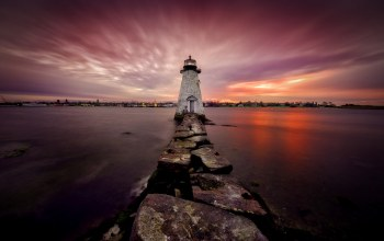 United states,Massachusetts,маяк,New Bedford,ночь
