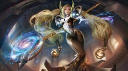 girl,stars,scepter,fantasy,galaxy,Magic,digital art,blonde,Vainglory,Celeste,braids,game,artwork,long hair
