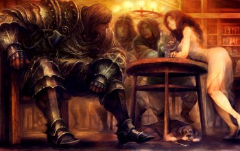 fantasy,digital art,girl,table,Bottle,fantasy art,artwork,tavern,knight,armor,soldier