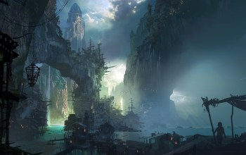 buildings,rocks,artwork,fantasy,houses,fantasy city,fantasy art,harbor,sailing ship,Bilgewater,league of legends,silhouette,huts,game,waterfall