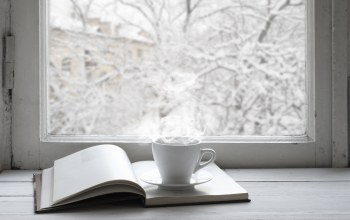 книга,Window,окно,cup,snow,winter
