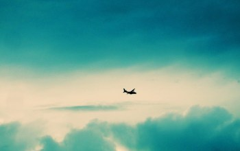 clouds,turquoise,aircraft
