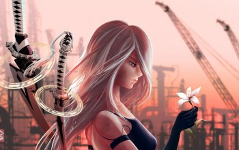 guardian,game,sword,nier: automata,robot,blade,artwork,girl,Nier,flower