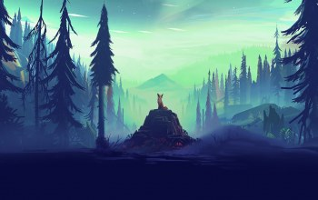 landscape,Fox,rocks,mist,pine trees,Animal,arwork,digital art,illustration,trees,Mikael Gustafsson,pine,horizon,forest,aurorae