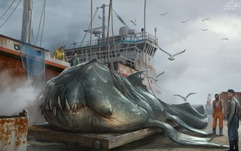 shipped off bacup,люди,чудовище,судно,Hauled up Sea Beasts,чайки