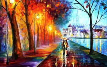 umbrella,couple,painting,autumn