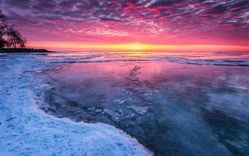 sky,Frozen,Sunset,ice,burning