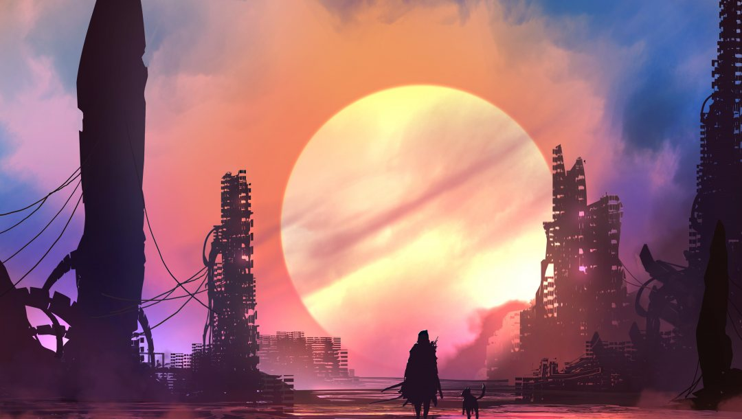 futiristic,fantasy,buildings,ruins,science fiction,Sunset,digital art,weapon,skyscrapers,illustration,sci-fi,silhouette,fantasy art,sword,Cityscape,future,artwork