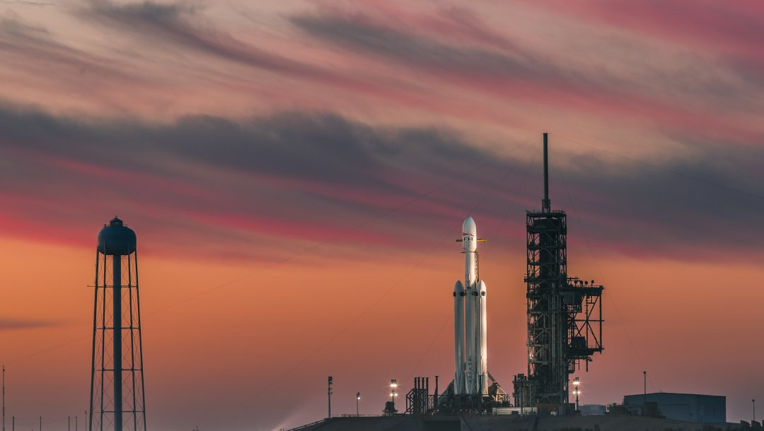 rocket,sky,clouds,Sunset,launch pads,Falcon Heavy,evening,Spacex,Twilight,Cape canaveral,space