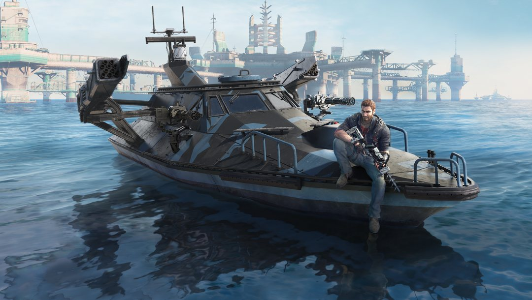square enix,Just cause 3,avalanche studios,Just Cause 3: Bavarium Sea Heist,Bavarium Sea Heist,катер,оружия,Рико
