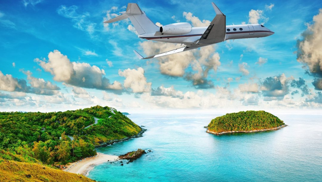 island,flying,Airplane,over,tropical