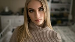 depth of field,looking at viewer,bokeh,looking at camera,model,close up,mouth,straight hair,photo,lips,sweater,portrait,blonde,white sweater,girl,Skyler Dawngagne,green eyes,Face,long hair