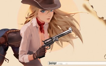 cowboy hat,girls with guns,girl,blue eyes,gun,Hat,blonde,artwork,weapon,gloves,pants,Cowgirl,shirt,illustration,scarf