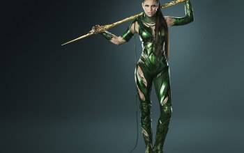 armor,cinema,film,long hair,movie,Evil,Power Rangers,girl,brown hair,greeen,weapon,PR,Rita Repulsa