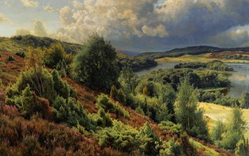 картина,Peder Mørk Mønsted,Холмы возле Силкеборга,Пейзаж,Петер Мёрк Мёнстед