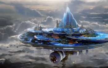architecture,science fiction,city of clouds,futuristic,fantasy art,spaceships,sci-fi,buildings,sky,clouds,artwork,fantasy,digital art