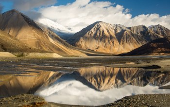 Облака,the sky,clouds,reflection,tibet,mountains
