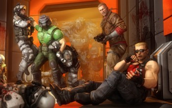 Duke nukem,doom,Wolfenstein,terror billy,doomguy,william blazkowicz,BJ Blazkowicz