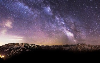 snow,Milky,mountains,way,stars