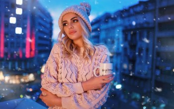 Hat,sweater,arms crossed,long hair,cup,Marko Smiljanic,white sweater,looking away,straight hair,Aleksandra Stojković,blonde,juicy lips,snow,Face,balcony,photo,portrait,mouth,bokeh,lips,snowfall,photographer,depth of field,blue eyes,girl