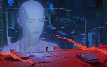 science fiction,artwork,hologram,digital art,head,sci-fi,buildings,future,skyscrapers,movie,futuristic,film,Machine,fantasy art,Blade runner,fantasy
