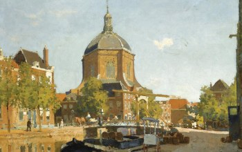 Figures on a Canal near the Marekerk. Leiden,картина,городской пейзаж,Cornelis Vreedenburgh