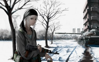 war,weapon,snow,gun,blonde,assault rifle,girl,rifle,tank