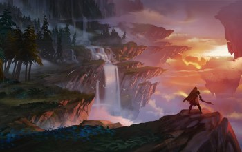 Dauntless,evening,Cloak,weapon,rocks,trees,Sunset,Twilight,fantasy art,river,digital art,fantasy landscape,forest,mountains,fantasy,fog,sky,landscape,sword,clouds,artwork,painting,waterfall