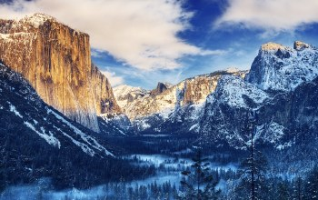 Sunset,Yosemite,snow,valley