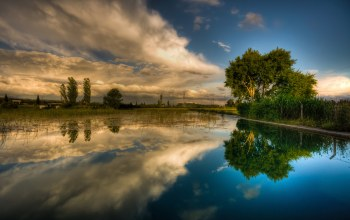 clouds,sky,reflection,Dramatic,water