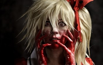 Face,blood,terror,hand,uniform,Lollipop chainsaw,survivor,girl,seifuku,cosplay,fear,Hunter,juliet starling,live action,game,Cheerleader,pretty