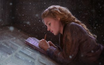 writing,painting,symbols,blonde,artwork,painting art,Magic,snow,books,Mandy Jurgens,braid,girl,fantasy art,fantasy