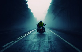 Road,into,motorcycle,fog
