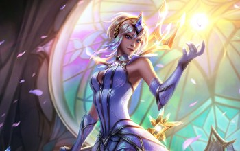 Magic,fantasy art,Sorceress,Tiara,game,crown,girl,petals,digital art,league of legends,fantasy,light,stained glass,Lux,artwork