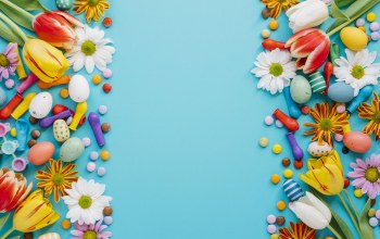 Easter,candies,colorful,blue,Весна