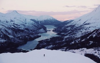 winter,Sunset,mountains,person