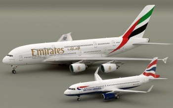 blender3d,Airbus A320 British Aiways,Airbus A380 Emirates,models