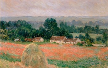 Клод Моне,Пейзаж,Стог Сена в Живерни,Oscar-Claude Monet,дома,картина