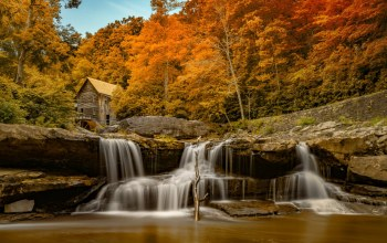 the,осень,водопад,autumn,trees,house,waterfall