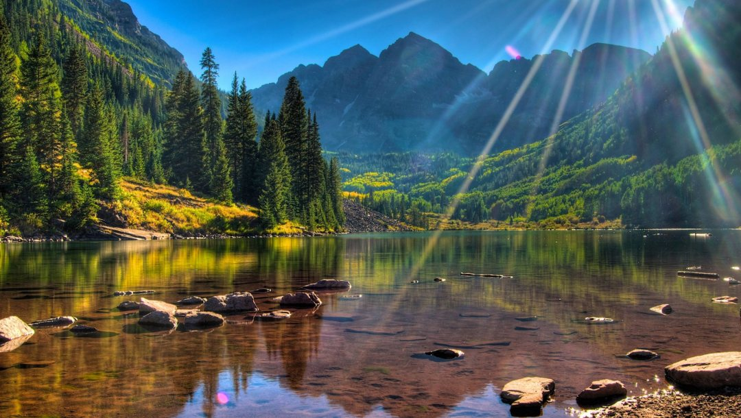 trees,stones,the,лучи,mountains,rays,river,rock,скалы