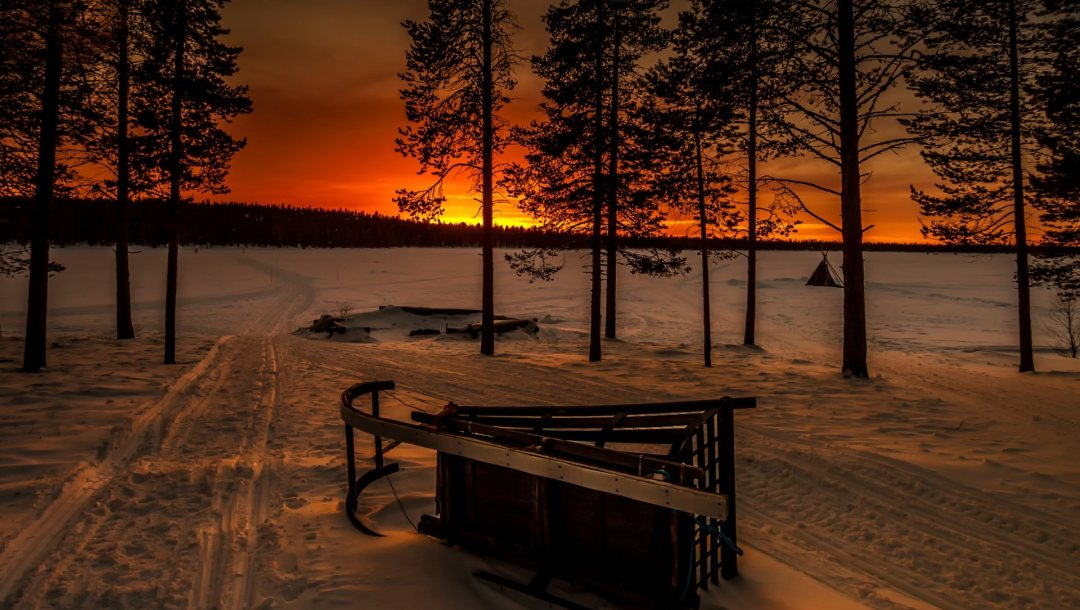 trees,sled,evening,winter,snow,санки